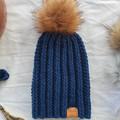 Reserved for Lorraine - Luxe 'Steel' blue BOTTLEBRUSH BEANIE - Toddler