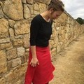 Red linen skirt with contrast pockets, size S-M circle skirt , knee length skirt