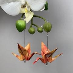 Hand folded Origami Earrings - Cranes
