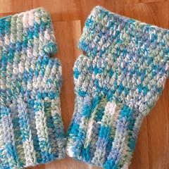 Ocean Adult Crochet Fingerless Gloves
