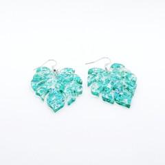 Monstera leaf acrylic hook dangle earrings with blue green glitter