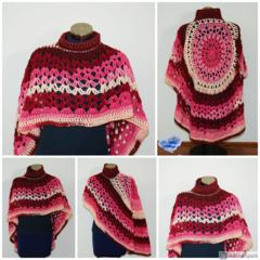Berries passion Crochet Asymmetrical Circular Poncho / Shawl - FREE SHIPPING