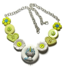Girls yellow unicorn necklace