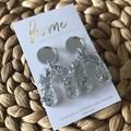 Recycled Silver Glitter Acrylic Rainbow Dangles    Eco