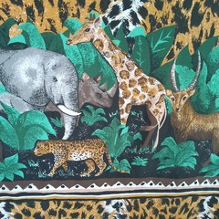 Vintage Jungle Animal Quilt Cover Double Bed Size 1990's - Upcycle Craft Fabric