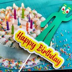 Gumby, Retro, Cake Topper, Happy birthday
