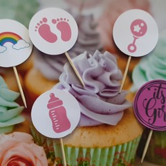 Cake toppers,  Baby Shower, Cupcakes, Gender Reveal, Fruit Picks, Donuts