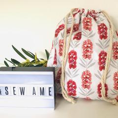 Drawstring Bag/ Small/ Australian/ Native Flowers/ Red Floral Bag