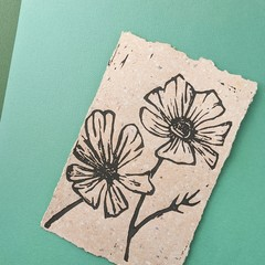 Flower In Bloom Print on Handmade Botanical Paper