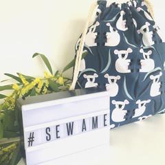 Drawstring Bag/ Small/ Koala/ Australian Animal/ Toy Bag/ Book Bag