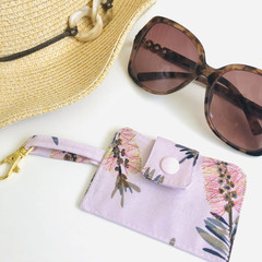 Key Chain Card Holder/ Pink/ Native Flower/ Wallet/ Bus Pass Holder/ Credit Card