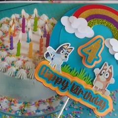 Bluey & Bingo, Age 4 Cake Topper 3D