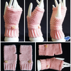 Fingerless gloves, wrist warmer in light pink with wooden button