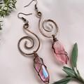 Aura Rose Quartz Spiral Earrings