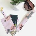 Key Chain Card Holder & Wristlet/ Pink/ Native Flower/ Wallet/ Bus Pass Holder