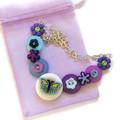 Girls blue butterfly necklace - Butterfly Dance