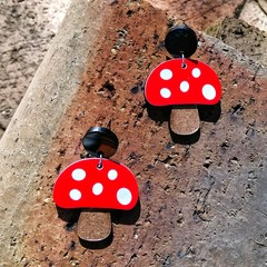 Forest Toadstool acrylic earrings red and white