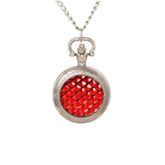 Pocket watch pendant necklace red Dragon scales, black or silver finish