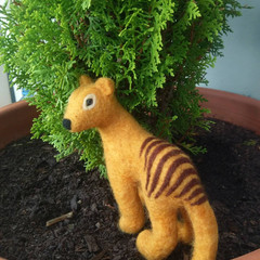Needle felted Tassie tiger, Australian animals, sculpture, fiber art