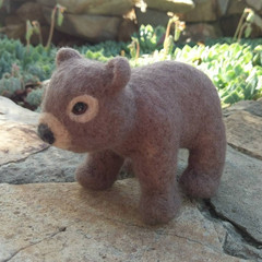 Needle felted wombat, Australian animals, sculpture, fiber art