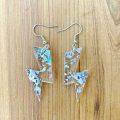 Lightning bolt drop earrings made with glitter infused acrylic