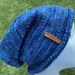 Knitted slouchy beanie blue mens or ladies merino slouchy beanie blue beanie men