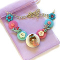Girl's Mermaid necklace (pink and blue)