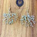 Coral design statement earrings in opal glitter acrylic