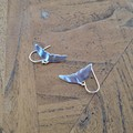 Recycled Silver Whale Tail Earrings