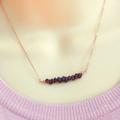 Garnet Necklace,Garnet Bar Necklace,January Birthstone Necklace