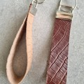 Wristlet Key Fob/ Key Ring/ Key Chain. Genuine Leather, Tan, Brown Embossed Croc