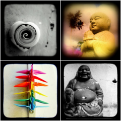 Peace Love and Harmony Photography Set of Four 5x5 inch Prints