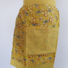 Adult half apron - bees & bright yellow