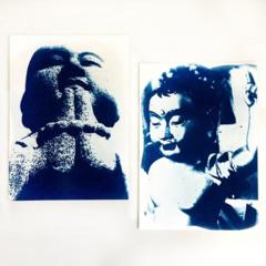 Buddha Artwork, Original Cyanotype Buddhist Prints, Set of 2, 6x8 inches