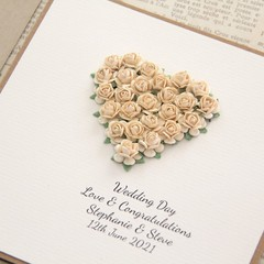 Personalised Wedding Card, 4 Colours, Wedding Keepsake, Custom Made Wedding Card