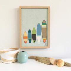 Surf Board Linen Print