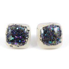 Pearl & black studs - square  (samples, seconds & old stock)