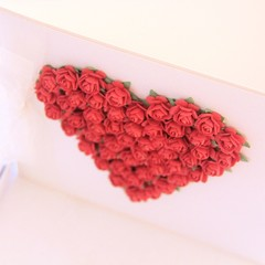 Handmade Red Paper Roses Heart Keepsake Card, Gift Boxed, Anniversary