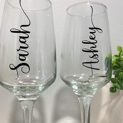 Champagne Glass Name Label