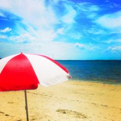 Beach Umbrella Photo, Beach Cottage Decor 5x5 inches