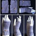 Fingerless gloves, wrist warmer in grey with wooden button