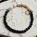 Black & Pearl Stretch Bracelet