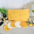 Organic cotton bumblebee print 2 piece bathroom & beauty set.
