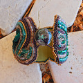 """Bead Embroidered Bracelet Cuff """"Emerald Shores"""""""