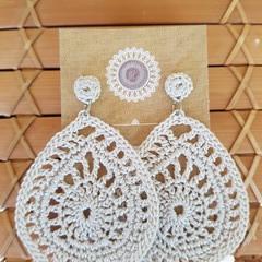 Crochet Fancy Teardrop and Stud Earrings