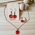 Unique Hand Painted Red Earrings, Necklace or Ring