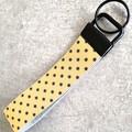 Wristlet Key Fob/ Key Ring/ Key Chain. Genuine Leather, Gold / Black Star