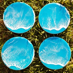 Turquoise Resin Wave Coasters
