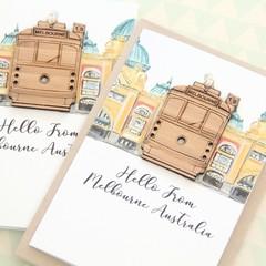 3 Melbourne Tram Souvenir Cards, Removable Bamboo Decoration, Australian Made
