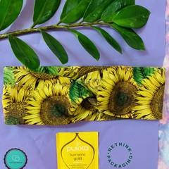 Adult sizing turban twist headband sunflowers